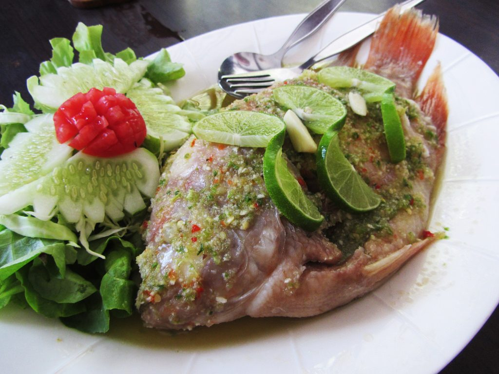 Steamed Lime Fish (Pla Kapung Neung Manao)